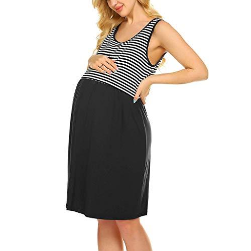 POPNINGKS Women Casual Dress Pregnant Maternity Nursing Solid Dress Breastfeeding Clothes Summer Maternity Dresses