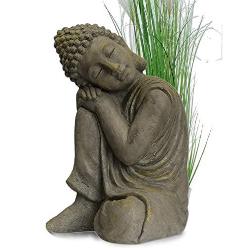 Buddha in klasse Messingoptik aus Stein Statue Figur Skulptur Deko