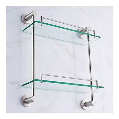 ZhanMaGS Estante de baño toallero retro estante de vidrio estante de baño doble capa de acero inoxidable estante de cocina estilo europeo estante de almacenamiento de pared 1030
