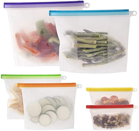 WeeSprout 100 Silicone Reusable Food Storage Bags Set of 6 Leakproof Airtight Bags Two 6 Cup product image