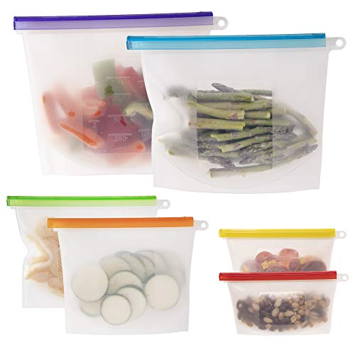 WeeSprout 100% Silicone Reusable Food Storage Bags | Set of 6 Leakproof amp Airtight Bags Two 6 Cup Two 4 Cup and Two 2 Cup Bags | Freezer Microwave amp Dishwasher Friendly | for Lunches and Snacks