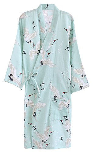 ECHERY Las Mujeres de Verano de Algodón Kimono Batas Floral Ropa de Dormir Pijamas de Khan al Vapor Albornoz Yukata Verde