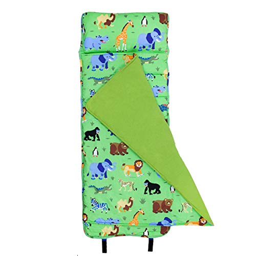 Wildkin Original Nap Mat with Pillow for Toddler Boys and Girls, Measures 50 x 20 x 1.5 Inches, Ideal for Daycare and Preschool, Mom's Choice Award Winner, BPA-Free, Olive Kids (Wild Animals)