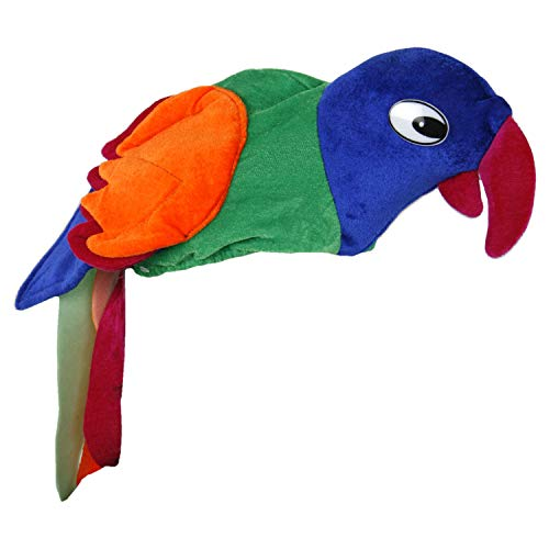 WOP ART Lustige Berretti e Cappelli per Carnevale, Feste od. Addio al Celibato e Nubilato - Hamburger, Pappagallo, Coccodrillo e Pollo - Pappagallo