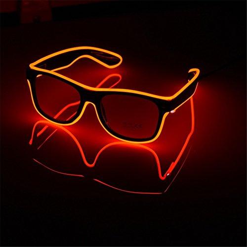 GZQ Led Gafa para Fiesta,, Alambre Gafas,Gafa con luz LED para Discotecas,Año Nuevo,Navidad (Rojo)