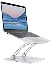 Laptop Stand, OMOTON Height-Adjustable Desktop Computer Stand, Exceptionally Stable Laptop Holder with Heat Outlet, Compatible with MacBook Pro, Air, Samsung, Laptops up to 17 inches, Silver