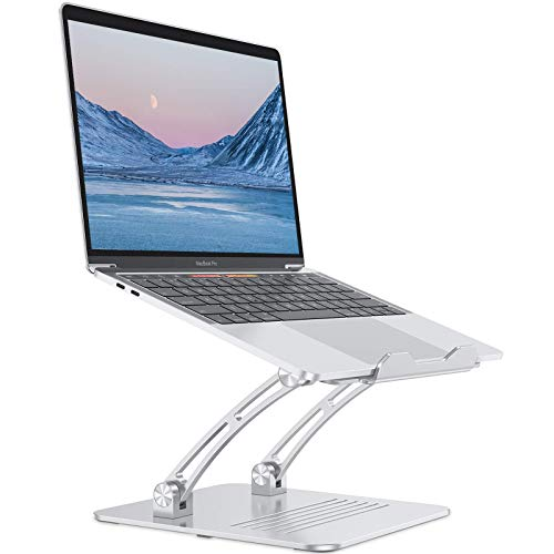 Laptop Stand, OMOTON Height Adjustable Computer Stand for Desk, Exceptionally Stable Laptop Riser Holder with Heat Vent, Compatible with MacBook Pro, Air, Samsung, Laptops up to 17 inches, Silver