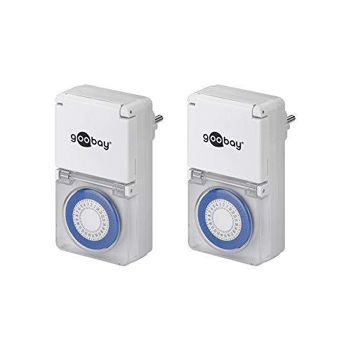 Goobay 55547 Analoge Zeitschaltuhr Aussen – IP44 – 30 Minuten Takt - Schutzklappe – für Outdoorbereich geeignet - Spritzwasserschutz - 2er Set
