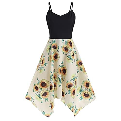957 Women Sleeveless Spaghetti Strap Dress Sunflowers Printing Splicing V-Neck Asymmetric Hem Swing Mini Dresses Yellow