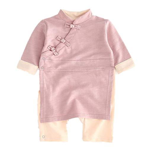 Livoral Baby Winter Even Jacke Einfarbige Overall-Kimono-Kimono-Kleidungspyjamas des neugeborenen Babyknopf-Mädchens(Pink,18-24 Monate)