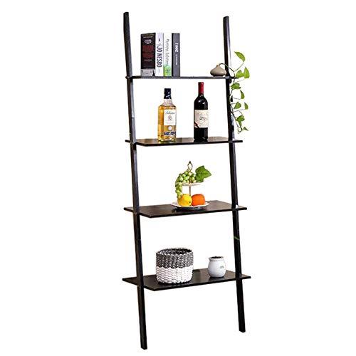 JCNFA Planken Boekenkast 4-laags Trapeziumvormig Rack Wandplank Hoek Plank Book Manager 23.62 * 11.81 * 66.14in Zwart