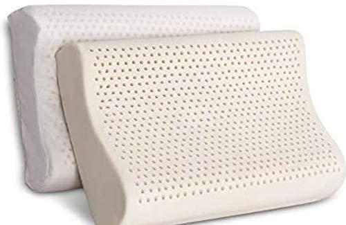 100% Organic Latex Contour Pillow for Neck Pain  Standard Size, High-Loft, Medium Firm  Organic Cotton Cover, GOTS & GOLS Certified - Cervical Pillow - Ergonomic Contour Design for Spine Support
