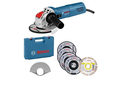 Bosch Professional Amoladora Angular GWX 750-125, Disco Diámetro 125 mm, Incluye Juego de Discos de Corte y de Amolado de 5 Piezas, Cubierta Protectora 125 mm, en Maletín, Amazon Exclusive