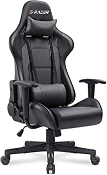 Homall Gaming Chair Office Chair High Back Computer Chair PU Leather Desk Chair PC Racing Executive Ergonomic Adjustable Swivel Task Chair with Headrest and Lumbar Support  Dark Black