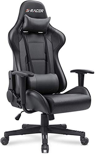 Homall Gaming Chair Office Chair High Back Computer Chair PU Leather Desk Chair PC Racing Executive Ergonomic Adjustable Swivel Task Chair with Headrest and Lumbar Support(Black)