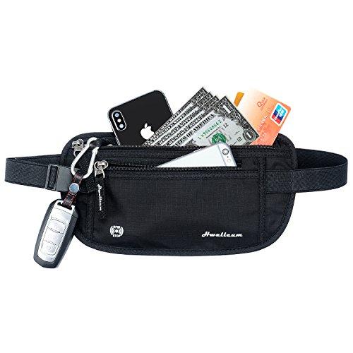 Riñoneras de viaje, TieNew 2018 cinturón de dinero de viaje con bloqueo RFID, antirrobo riñoneras running viaje cinturón para dinero pasaporte crédito protección,negro