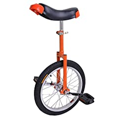 "16 Inch Unicycle in Orange Unicycle Height(Adjustable): 28"" - 32"" User Height: 45""- 61"" Weight Limit: 110 lbs Distance(Seat - Pedal): 15"" - 29"""