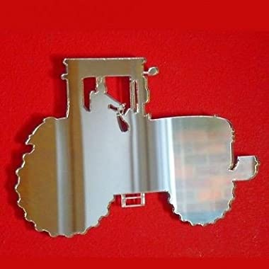 John Deere Style Tractor Wall Mirror - 4.7 x 3.2 inches (12 x 8 cm)