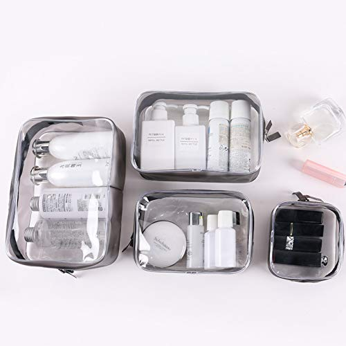 4Pcs Clear Cosmetic Bag TSA-Approved Travel Toiletry Bag Set with Zipper Vinyl PVC Make-up Pouch Handle Straps for Women and Men, Waterproof Packing Organizer Storage Diaper Pencil Bags (black1)