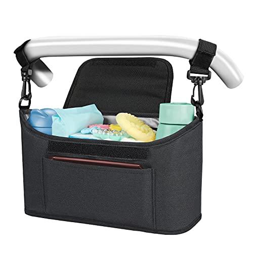 Yoofoss Bolsa Organizadora de Cochecitos para Mamá, Bolsa Carrito Bebe, Universal cochecito de bebé para Todos Los cochecitos (negro)
