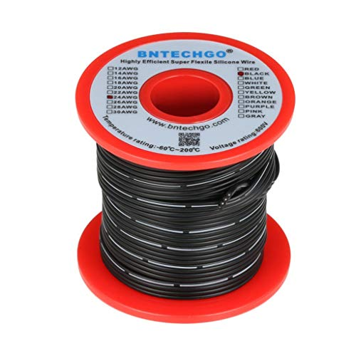 BNTECHGO 24 Gauge Silicone Ribbon Cable Flexible 4P Black 25 ft Flat Cable 24 AWG Strand Wire
