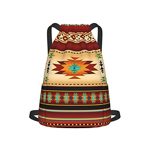 Mochila grande con cordón, correas anchas ajustables y bolsillo trasero con cremallera para deportes, cincha de viaje, para adolescentes, hombres, mujeres, manta Navajo