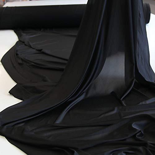 TOLKO Jersey-Stoff für Shirt Kleid Rock | Blickdicht knitterarm elastisch | universal Modestoff/Dekostoff zum Nähen/Dekorieren | 130cm breit Kleiderstoff Kostümstoff Hochzeitsstoff Meterware (Schwarz)