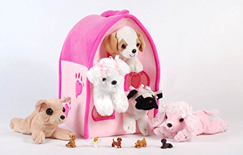 Unipak 12' Plush Pink Dog House Carrying Case with Five (5) Stuffed Animal Dogs (Pink Poodle, Pug, Chihuahua, Beagle, and White Terrier) + Free Bonus Five Mini Puppy Figures