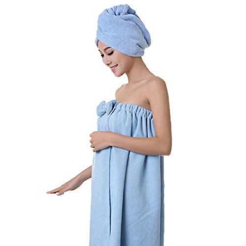 Xiaobing 1 Juego de Toallas de baño, Toallas absorbentes mágicas Suaves, Toallas de baño de Secado rápido para Mujeres-Azul