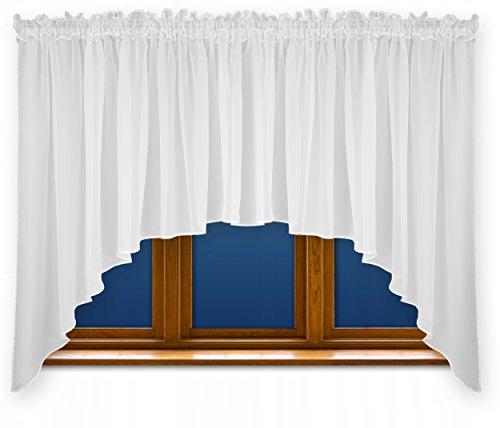 FKL DESIGN Home Deco Schöne Fertiggardine Fenstergardine Gardine aus Voile mit Faltenband Kräuselband Store Bogen Kurz Modern Weiß 150x300 cm LB-163