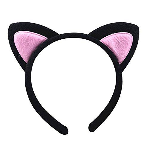 Demarkt Kinder Katzenohren Haarband Stirnband Stirnband Headband Haarreifen Haarschmuck Schwarz und Rosa