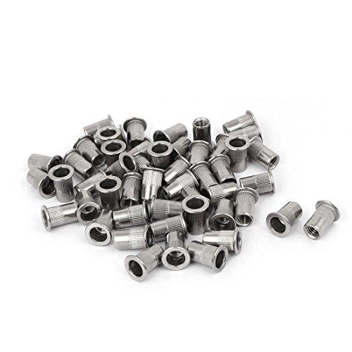 Aexit 50 Nägel, Schrauben & Befestigungen Stück M6 x 15mm 304 Edelstahl Rändel Sets mit Schrauben & Muttern Nietmuttern Nutsert