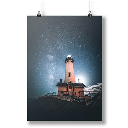INNOGLEN Lights On in The Lighthouse, Sky Full of Stars A0 A1 A2 A3 A4 Satin Foto Poster a3700h