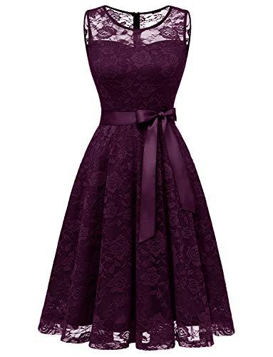 Dressystar DS0009 Abendkleid Ärmellos Kurz Brautjungfern Kleid Spitzen Rundhals Damen Kleider Grape M
