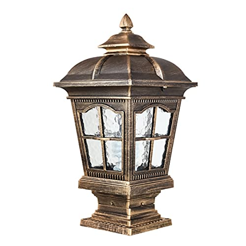 QJUZO Luces De Poste LED, Luces De Camino Impermeables con Aspecto Antiguo, Lámparas De Pie De Aluminio para Jardín, E27 Lámpara De Pilar De Parque, Faros De Columna De Poste Calle Patio