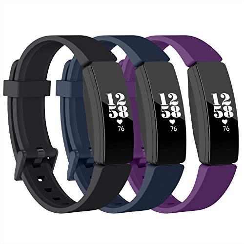 Recoppara Fitbit Inspire HR Correa, Bandas Deportivas Suaves e Impermeables compatibles con Fitbit Inspire/Inspire HR/Ace 2, Mujeres Hombres (Negro + Azul Marino + púrpura, Grande)