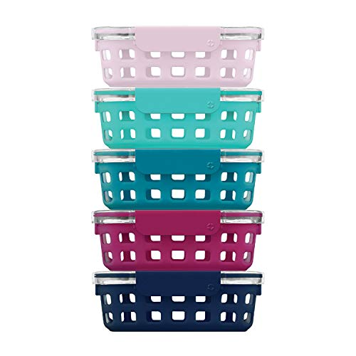 Ello Duraglass Glass Food Storage Meal Prep Containers - Glass Food Storage Meal Prep Bowls with Silicone Sleeve and Airtight Lids 10 Piece 5 Pack Evening Orchard 34 Cups