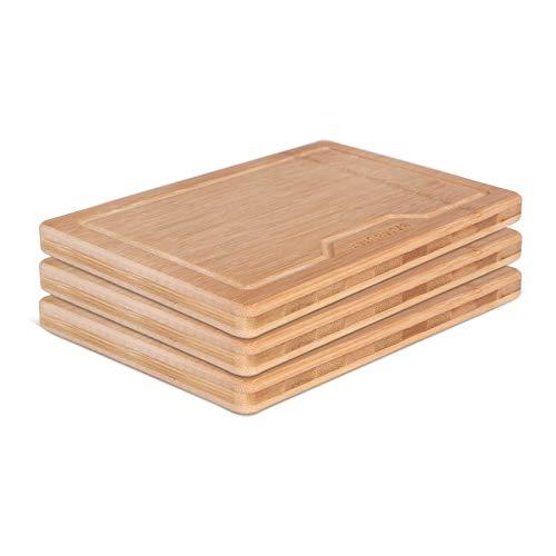 BAMBUMI Frühstücksbrettchen Bambus-Holz, Schnittflächen aus einem Stück Bambus, Holzbrettchen, Servierbrett, Küchenbrett, Brotzeitbrett, 24x17x1,8 cm, 3er Set