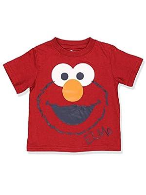 Sesame Street Boys Short Sleeve Tee (2T, Red Elmo Face)