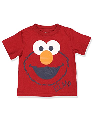 Sesame Street Boys Short Sleeve Tee (2T, Red Elmo Face), Red, Size 2T