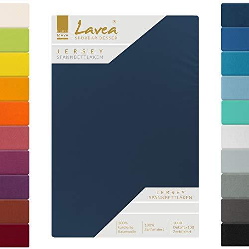 Lavea Jersey Spannbettlaken, Spannbetttuch, Serie Maya, 200x220cm für Boxspring- und Wasserbetten, Galaxyblau, 100% Baumwolle, hochwertige Verarbeitung, mit Gummizug