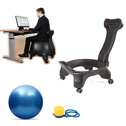 BODODO Fitness Ball Sedia Schienale Fisso/Balance Ball Chair/Active Chair con Palla, per Esercizi Sedia per Casa e Ufficio Sedia da Scrivania, Sedia ergonomica con Pallone Gonfiabile