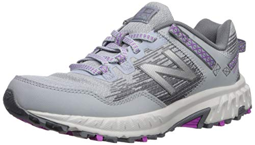 New Balance Women's 410 V6 Trail Running Shoe, Light Cyclone/Gunmetal/Voltage Violet, 8.5 M US
