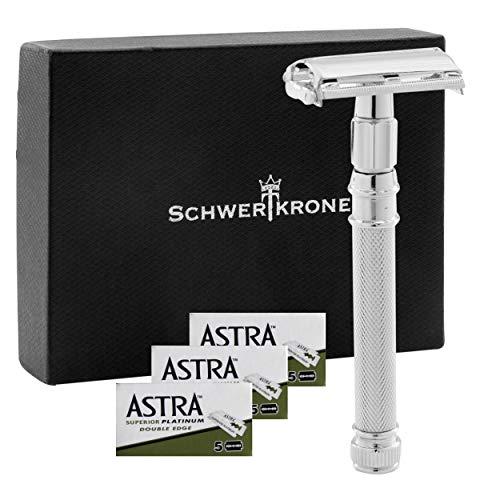 Schwertkrone Premium Rasierhobel Herren mit 15 Rasier-Klingen Astra| Nassrasierer mit Buttfly-System für Mann und Frau | Sicherheitsrasierer Safty Razor