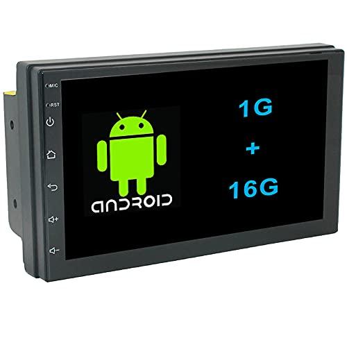 Hengweili Android Autoradio Radio de Coche 2 DIN 7 Pulgadas Pantalla táctil GPS WiFi Bluetooth Mirror Link USB FM RDS Control del Volante (1G + 16G)