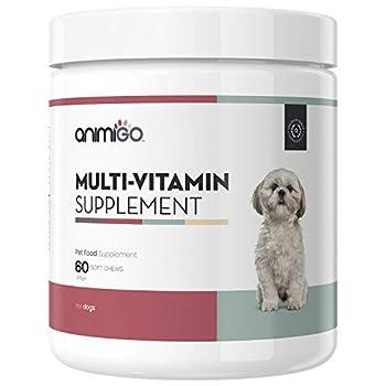 Animigo Complément Alimentaire Multivitamines pour Chien - Riche en Vitamine et Minéraux - avec Omega 3,6,9, Glucosamine et Zinc - Complement Naturel Santé et Bien-Être- 60 Gélules
