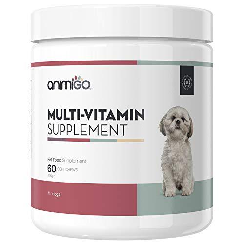 Animigo Integratore Multivitaminico per Cani - Integratore Naturale con Vitamine e Minerali - Sostiene Il Sistema immunitario - per Cani Anziani, Adulti e Cuccioli - 60 Capsule Masticabili