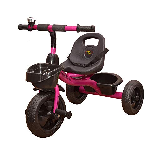 STEPUPP Front and Back Basket Tricycle for Kids (Pink)