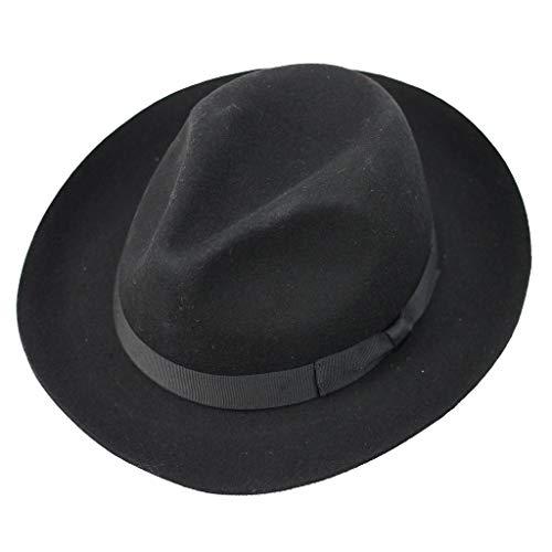 Chapeau mou de style Fédora Gladwinbond fabriqué à la main, de qualité, avec bande assortie, 100% laine - Noir - X-Large