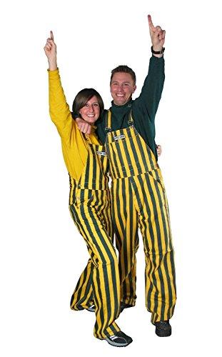 Dc True, Ltd. Adult Green & Yellow Striped Game Bib Overalls, Large